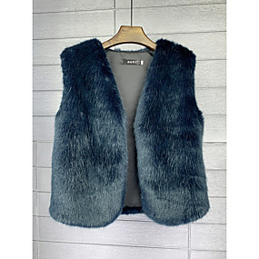 cheap -Women's Solid Colored Spring &  Fall Basic Regular Vest Daily Faux Fur Sleeveless Coat Tops