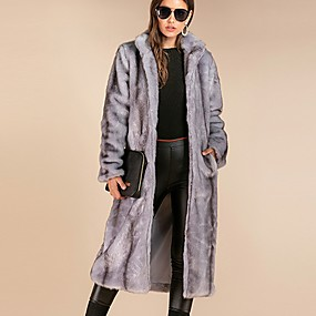 cheap -Women's Fall & Winter Open Front Stand Collar Coat Long Solid Colored Daily Basic Oversized Faux Fur Gray XS S M L / Loose