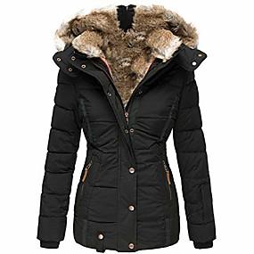 cheap -womens down coats winter zipper hooded faux fur inside parka down jackets (xx-large,black)