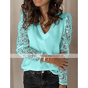cheap -Women's Solid Colored Blouse Lace Long Sleeve Daily Tops White Black Blue