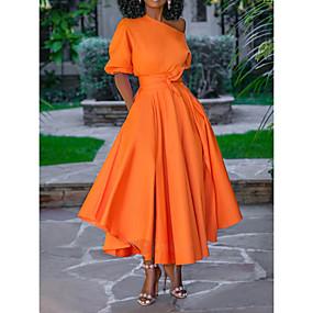 cheap -Women's Swing Dress Midi Dress Blue Blushing Pink Orange White Short Sleeve Solid Color Lace up Spring One Shoulder Elegant 2021 M L XL XXL