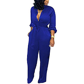 cheap -women's deep v neck long sleeve button down one piece wide leg jumpsuit romper x-large blue