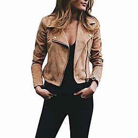 cheap -faux leather jacket moto biker jacket short coat notched lapel jacket crop tops