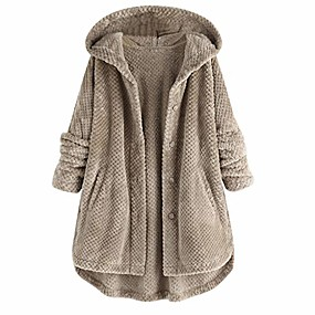 cheap -Women's Coat Causal Fall Winter Regular Coat Regular Fit Casual Jacket Long Sleeve Solid Color Pure Color Wine Red khaki