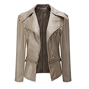 cheap -women jacket, autumn fashion vintage retro women biker motorcycle pu leather zipper jacket coat black (xl, khaki)