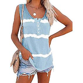 cheap -women& #39;s summer boho tie dye sleeveless tank tops small sky blue