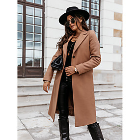 cheap -Women's Fall & Winter Double Breasted Coat Long Solid Colored Daily Basic Black Khaki Light gray S M L XL