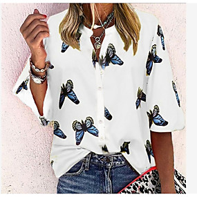 cheap -Women's Blouse Shirt Butterfly Long Sleeve Print Shirt Collar Tops Streetwear Basic Top White Blue Red