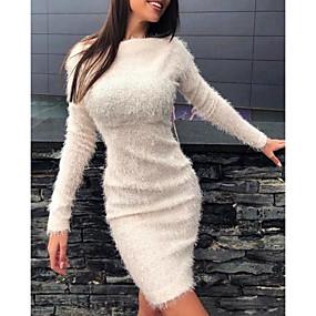 cheap -Women's Sheath Dress Knee Length Dress - Long Sleeve Solid Color Fall Winter Casual Boho Slim 2020 White Blushing Pink Khaki Gray Light Blue S M L XL XXL 3XL