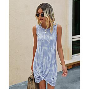 preiswerte -Damen T-Shirt Kleid Minikleid - Ärmellos Batik Druck Sommer Freizeit Schlank 2020 Blau Purpur Rosa Grün Marineblau S M L XL