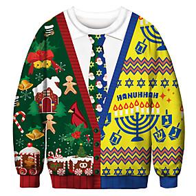 preiswerte -Herren Pullover Sweatshirt Grafik Hässliche Weihnachten Rundhalsausschnitt Party Alltag 3D-Druck Weihnachten Party Kapuzenpullover Sweatshirts Langarm Regenbogen