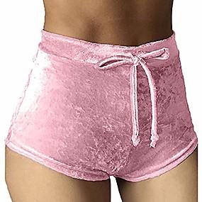 cheap -women's casual soft high waist velvet drawstring casual booty shorts x-large pink