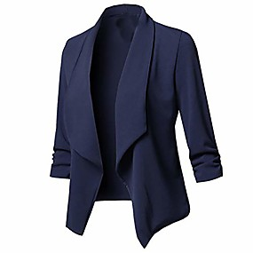 cheap -Women's Blazer Office / Career Fall Spring Regular Coat V Neck Slim Work Casual Jacket Long Sleeve Solid Color Basic Navy Wine Red