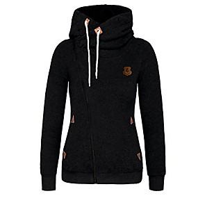 cheap -women lightweight casual oblique full zip-up hooded jacket with plus size black large