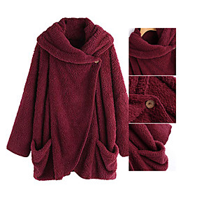 cheap -Women's Cloak / Capes Long Solid Colored Daily Basic Wine Red Black Navy Blue Pink S L 2XL 3XL
