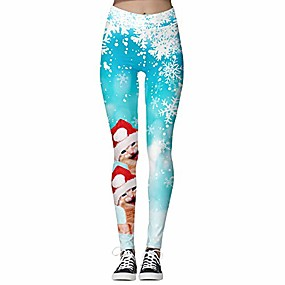 cheap -women's snowflake cute cat patterned workout leggings xl