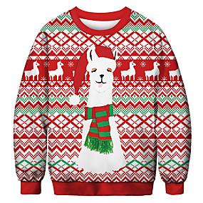 preiswerte -Herren Pullover Sweatshirt Grafik Hässliche Weihnachten Rundhalsausschnitt Party Alltag 3D-Druck Weihnachten Party Kapuzenpullover Sweatshirts Langarm Rote