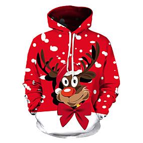 preiswerte -Herren Pullover Hoodie Sweatshirt Grafik Hirsch Hässliche Weihnachten Party Wochenende 3D-Druck Freizeit Weihnachten Kapuzenpullover Sweatshirts Rote