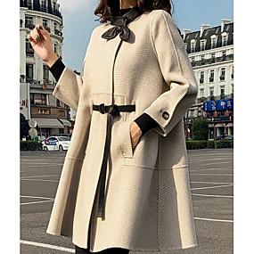 preiswerte -Damen Steigendes Revers Mantel Standard Hahnentrittmuster Alltag Schwarz Beige S M L XL