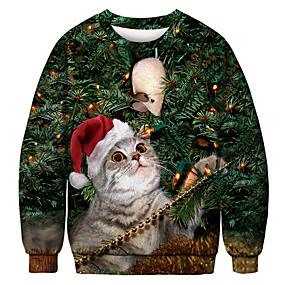 preiswerte -Herren Pullover Sweatshirt Katze Grafik Hässliche Weihnachten Rundhalsausschnitt Party Alltag 3D-Druck Weihnachten Party Kapuzenpullover Sweatshirts Langarm Grün