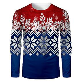 preiswerte -Herren T-Shirt 3D-Druck Verziert Grafik 3D Druck Langarm Weihnachten Oberteile Blau