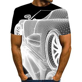 preiswerte -Herren T-Shirt 3D-Druck Grafik 3D Übergrössen Druck Kurzarm Alltag Oberteile Elegant Übertrieben Weiß Schwarz Blau