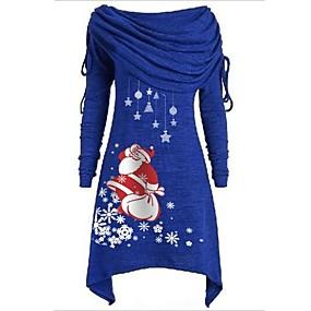 preiswerte -Damen Etuikleid Knielanges Kleid - Langarm Druck Druck Herbst Schulterfrei Freizeit Weihnachten 2020 Schwarz Blau Purpur Rote Grau S M L XL XXL 3XL 4XL 5XL