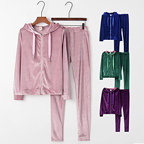 cheap -Women's 2-Piece Full Zip Tracksuit Street Athleisure Long Sleeve Velour Breathable Warm Soft Fitness Running Jogging Exercise Sportswear Solid Colored Outfit Set Clothing Suit Purple Blue Pink Green