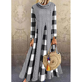 preiswerte -Damen Sweater Kleid Maxikleid - Langarm Schachbrett Einfarbig Patchwork Frühling Herbst Freizeit Lose 2020 Grau M L XL XXL 3XL