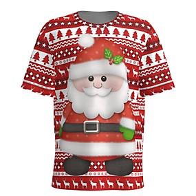 preiswerte -Herren T-Shirt 3D-Druck Grafik 3D Druck Kurzarm Weihnachten Oberteile Rote