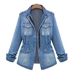 cheap -Women's Plus Size Denim Jacket Zipper Pocket Solid Colored Regular Stand Collar Daily Fall Spring Blue Big Size L XL XXL 3XL 4XL