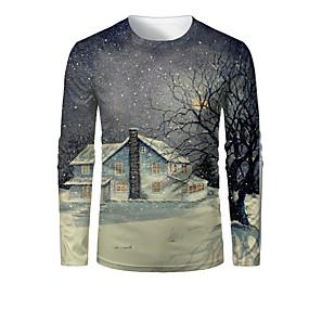 preiswerte -Herren T-Shirt 3D-Druck Grafik Landschaft 3D Druck Langarm Weihnachten Oberteile Dunkelgray