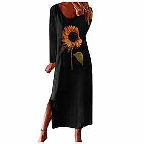 preiswerte -Damen lässig Sonnenblumenmuster lange Ärmel Rüschen Kleid drucken Boho Sommerkleid schwarz