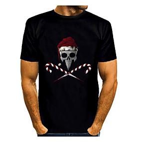 preiswerte -Herren T-Shirt 3D-Druck Grafik 3D Druck Kurzarm Weihnachten Oberteile Schwarz