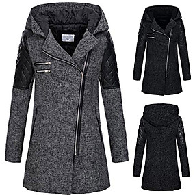 cheap -Women's Jacket Regular Solid Colored Daily Basic Rabbit Fur Navy Black Wine Light Gray S M L XL / Cotton