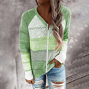 cheap -Women's Knitted Color Block Pullover Cotton Long Sleeve Sweater Cardigans V Neck Fall Red Blushing Pink Green