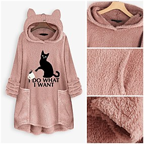 cheap -Women's Pullover Hoodie Sweatshirt Teddy Coat Animal Letter Daily Basic Cute Hoodies Sweatshirts  Loose Oversized Long Black Yellow Blushing Pink