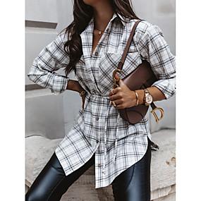 cheap -Women's Blouse Shirt Check Long Sleeve Patchwork Shirt Collar Tops Basic Top White Khaki Gray
