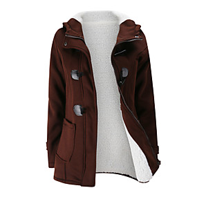 cheap -Women's Zipper Jacket Regular Solid Colored Daily Basic Black Blue Wine S M L