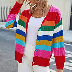 cheap -Women's Single Breasted V Neck Sweater Coat Regular Color Block Daily Rainbow One-Size / Loose
