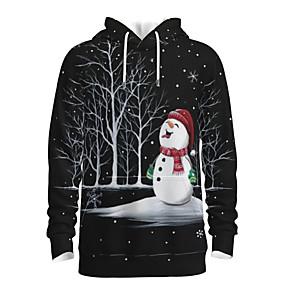 preiswerte -Herren Pullover Hoodie Sweatshirt Druck Grafik 3D Mit Kapuze Weihnachten Alltag 3D-Druck 3D-Druck Weihnachten Kapuzenpullover Sweatshirts Langarm Schwarz