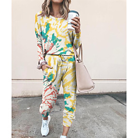 cheap -Women's Basic Tie Dye Two Piece Set Hoodie Tracksuit Pant Loungewear Jogger Pants Drawstring Patchwork Tops