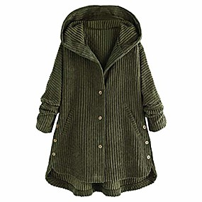 cheap -women's loose corduroy hooded jacket solid button down coat sing breasted parka plus size tops by jmetrie army green