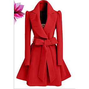cheap -Women's Fall & Winter Coat Long Solid Colored Daily Basic Black Red Khaki S M L XL