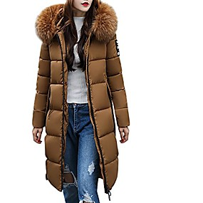 cheap -women's solid casual thicker winter slim down knee length jacket coat overcoat(coffee,xl)