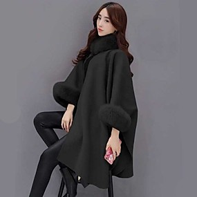 cheap -Women's Solid Colored Fur Trim Streetwear Fall & Winter Cloak / Capes Long Daily 3/4 Length Sleeve Polyster Coat Tops Black