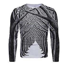 preiswerte -Herren T-Shirt 3D-Druck Grafik 3D Druck Langarm Weihnachten Oberteile Dunkelgray