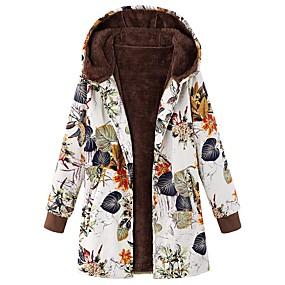 cheap -Women's Coat Long Color Block Daily Vintage Cotton White Blue Beige S M L XL