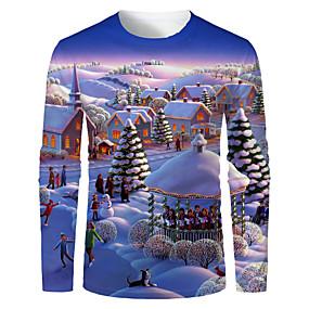 preiswerte -Herren T-Shirt 3D-Druck Grafik Landschaft 3D Druck Langarm Weihnachten Oberteile Purpur