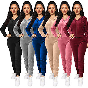 cheap -Women's 2-Piece Full Zip Tracksuit Sweatsuit Street Athleisure Long Sleeve Velour Windproof Breathable Soft Yoga Fitness Gym Workout Running Jogging Sportswear Solid Colored Outfit Set Clothing Suit